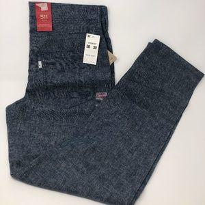 Levi's 511 Slim Fit Hybrid Trouser Blue Linen